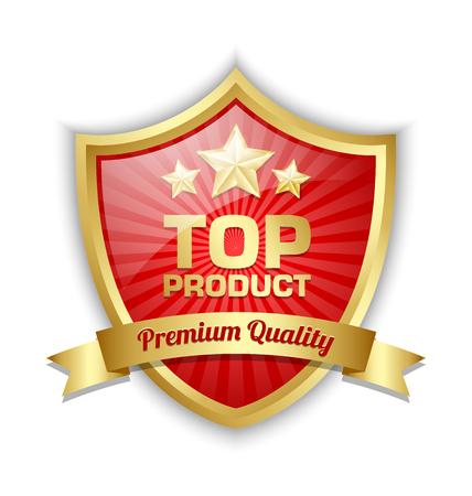escudo: Escudo Top producto colocado en el fondo blanco