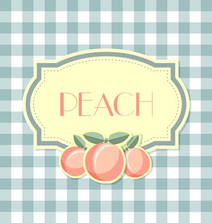 rind: Peach label in retro style on squared background Illustration