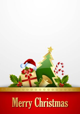 christmas candy: Merry Christmas document template with traditional decorations Illustration