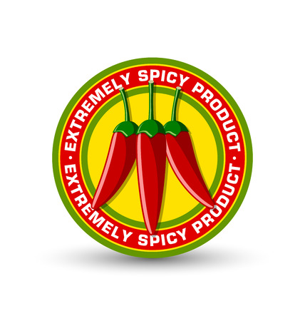 extremely: Extremely spicy product badge with three red chilli peppers placed on white background