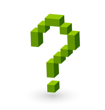 background information: Question mark symbol made from green cubes on white background Illustration
