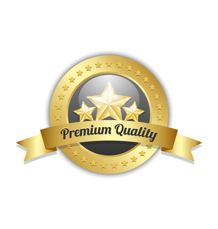 levels: Three golden stars symbol with Premium quality ribbon and plaque on white background