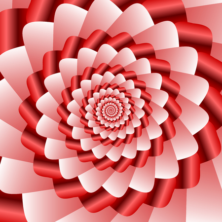 Twisted and ribbed spiral in vivid red color shades on background Illustration