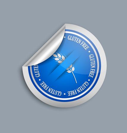 white sticker: Silver and blue gluten free sticker on white background