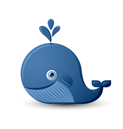 Cute blue whale character isolated on white background