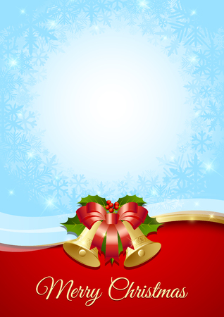 Merry Christmas document template with traditional bells, holly and ribbon decorations 向量圖像