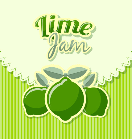 Sour cream: Lime jam label in retro style on striped background