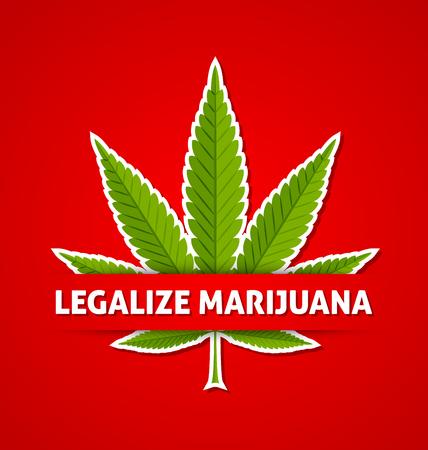 Legalize marijuana hemp (Cannabis sativa or Cannabis indica) leaf on red background Illustration