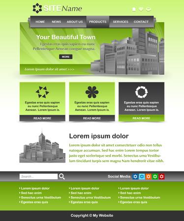 customizable: Easy customizable green and dark grey website template layout Illustration