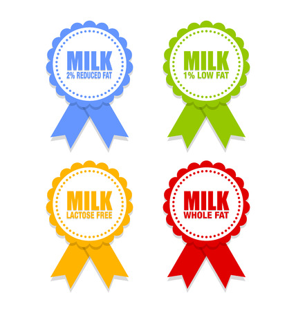 depict: Milk icons or rosettes with ribbons that depict different types of milk on white background