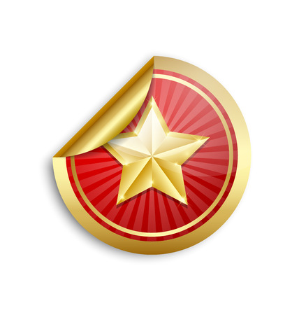gold circle: Golden star sticker for custom design purposes placed on white background
