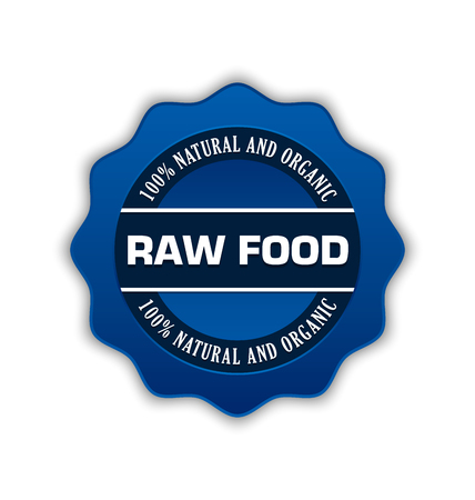 raw food: Blue raw food badge on white background