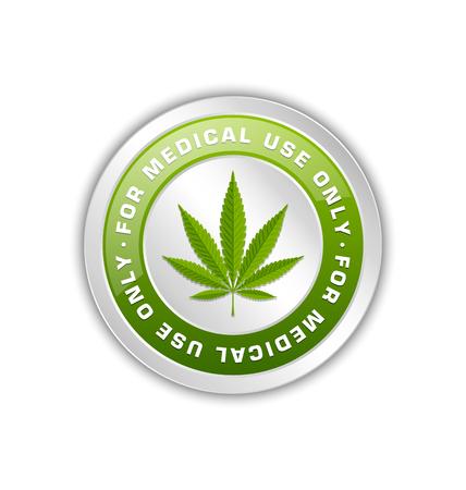 hoja marihuana: El uso médico solamente insignia con el cáñamo marihuana (Cannabis sativa o Cannabis indica) hojas sobre fondo blanco