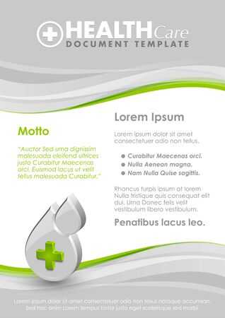 hematology: Health care document template with three dimensional glossy blood drop with cross icon