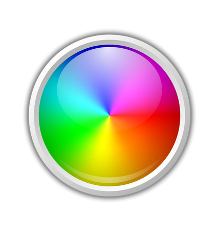 spectral: Colorful radial gradient badge made of rainbow spectral colors placed on white background Illustration