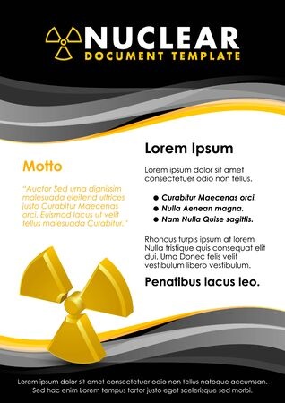 radium: Nuclear black and yellow document template with radiation sign Illustration