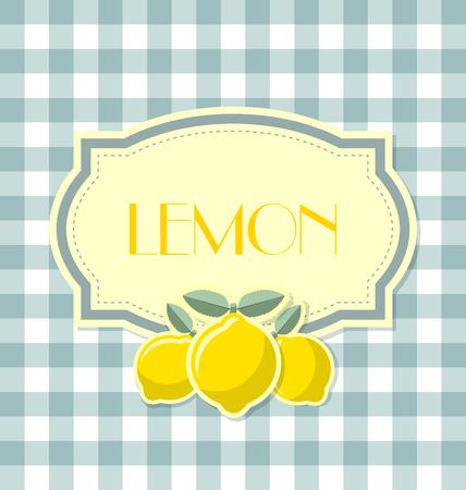 zest: Lemon label in retro style on squared background Illustration