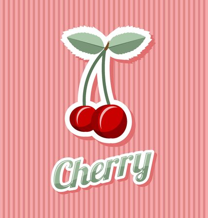 pulp: Retro cherry with title on striped background Illustration