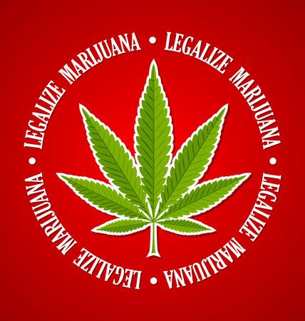 Legalize marijuana hemp (Cannabis sativa or Cannabis indica) leaf on red background  イラスト・ベクター素材