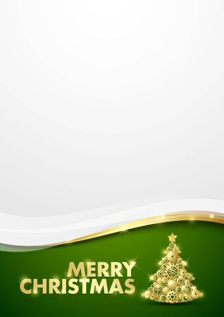 gold tree: Merry Christmas document template with tree made of cogwheels
