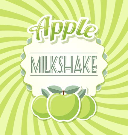 pale cream: Apple milkshake label in retro style on twisted background Illustration