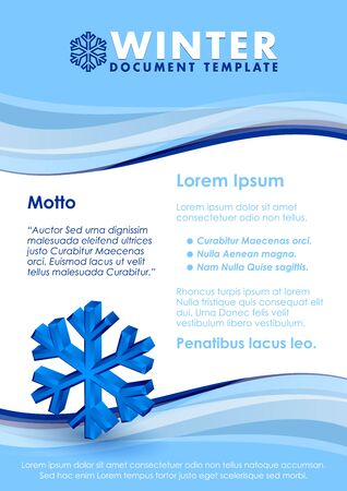 three dimensional: Blue winter document template with three dimensional snowflake symbol