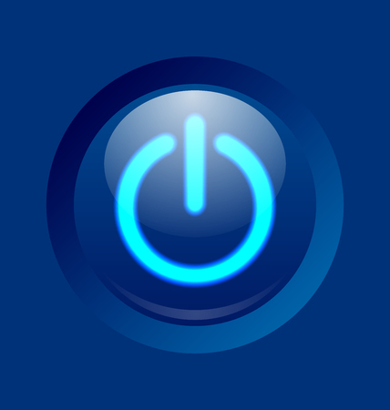 standby: Blue glowing power on, off or standby button