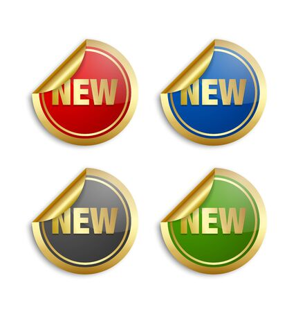 red button: Golden stickers with lettering NEW on white background Illustration