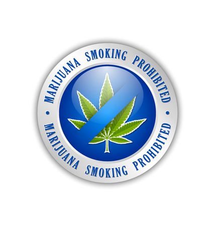 tetrahydrocannabinol: Marijuana smoking prohibited icon on white background