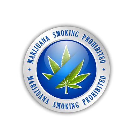 Marijuana smoking prohibited icon on white background