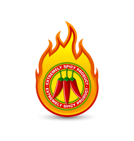 cayenne pepper: Extremely spicy product fire shaped badge with three red chilli peppers placed on white background