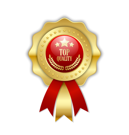 Top quality rosette placed on white background