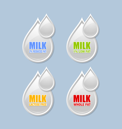 depict: Milk drop shaped icons that depict different types of milk on white background Illustration