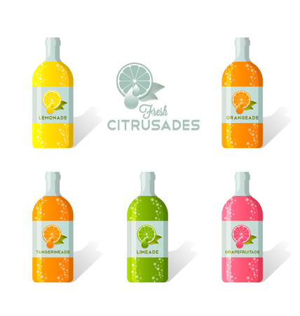 Citrusade bottles with fresh juicy citruses depicted on label