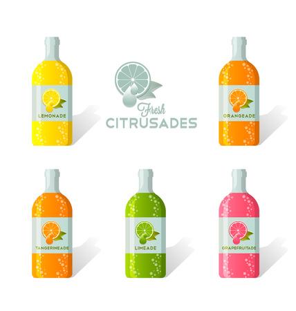 Citrusade Flaschen mit frischen saftigen Zitrusfrüchte auf dem Etikett dargestellt Standard-Bild - 48605810