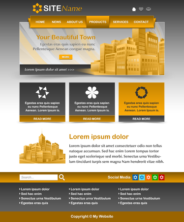 customizable: Easy customizable yellow ochre and dark grey website template layout Illustration