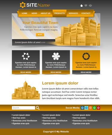logo batiment: Facile ocre jaune personnalisable et sombre site web gris modèle layout Illustration