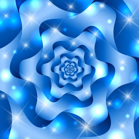 twisted: Blue twisted and ribbed abstract flower background