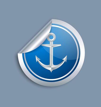 bluish: Nautical anchor sticker icon on bluish grey background