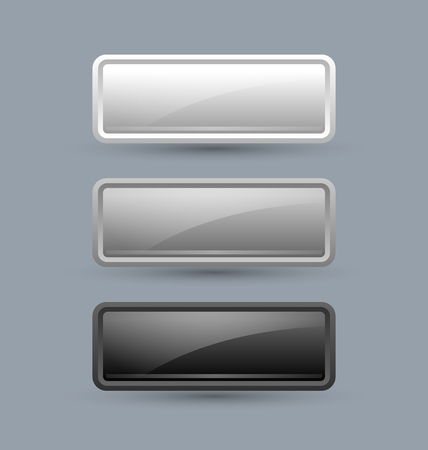 greyscale: Greyscale glossy buttons isolated on grey background