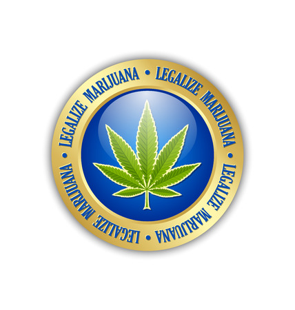 legalize: Golden legalize marijuana hemp (Cannabis sativa or Cannabis indica) leaf icon or badge on white background