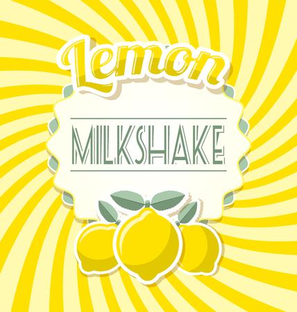 twisted: Lemon milkshake label in retro style on twisted background