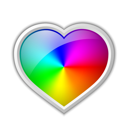 spectral: Colorful radial gradient in heart shaped badge made of rainbow spectral colors placed on white background Illustration