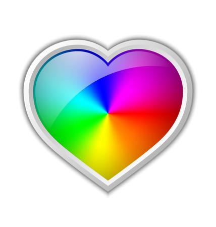 corazones azules: degradado radial colorido en placa en forma de corazón hecha de colores espectrales del arco iris se coloca en el fondo blanco