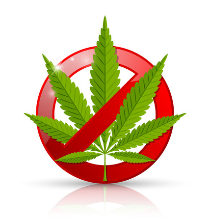 tetrahydrocannabinol: Marijuana prohibition sign placed on white background Illustration