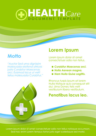 Health care document template with three dimensional glossy cross icon