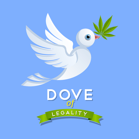 tetrahydrocannabinol: Dove of legality with marijuana leaf on blue sky background Illustration
