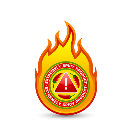 fire symbol: Extremely spicy product fire shaped badge with three red chilli peppers and exclamation mark symbol placed on white background