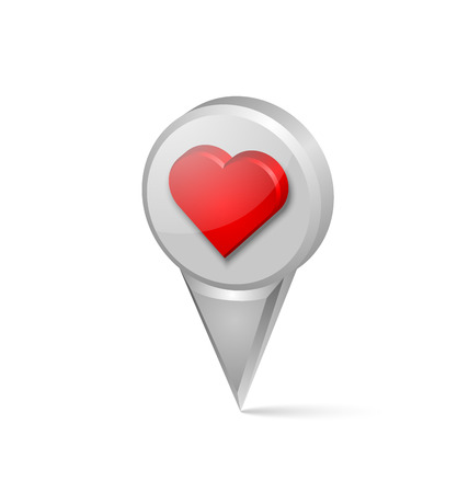 three pointer: Three dimensional heart map pointer on white background Illustration