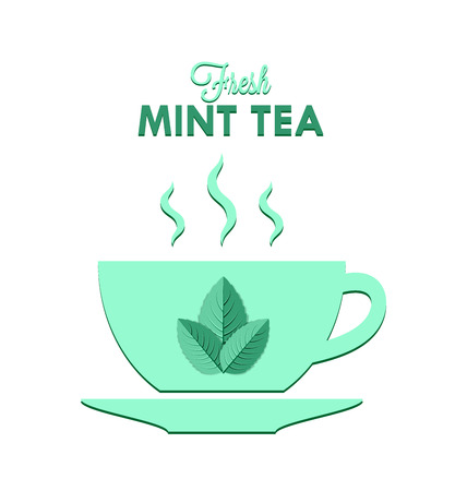 Cup of fresh mint tea isolated on white background